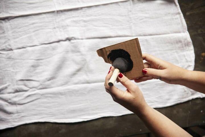 diy stamped watercolor tea towel