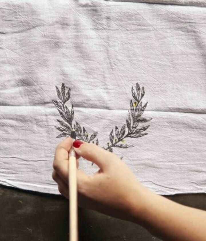 diy stamped watercolor tea towel