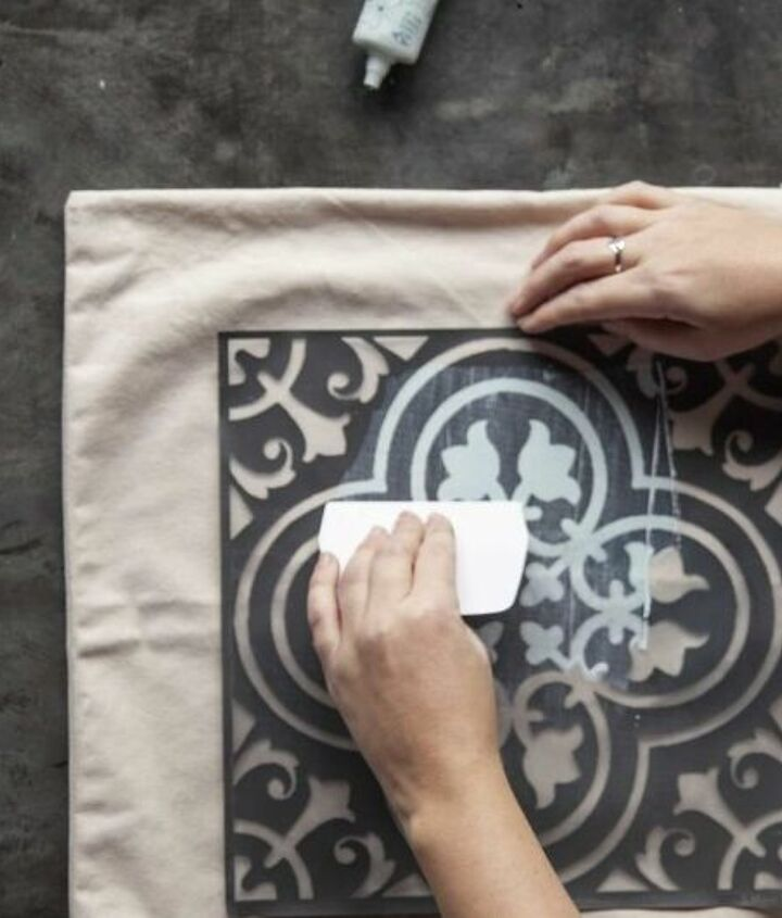 make your own stylishly stenciled trompe l oeil pillow