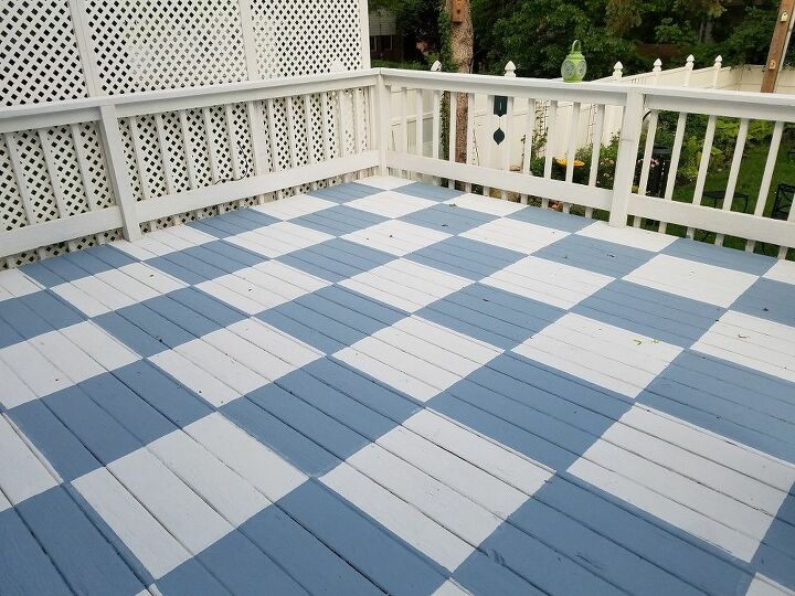 stenciling a wood deck in a diamond pattern