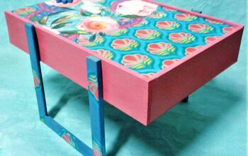 A Wine Box Customized as a Colored Decorative Side Table With Storage
