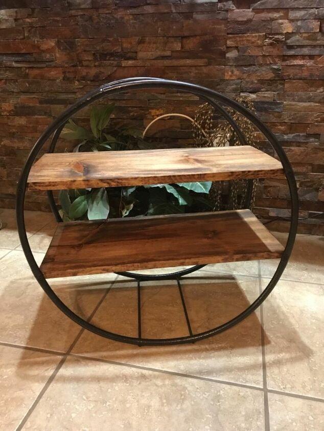 hula hoop wood shelf