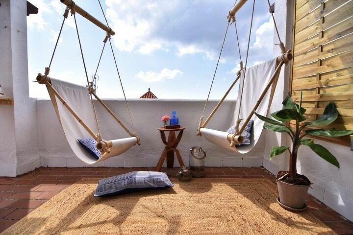 maldivian style bamboo swing chairs
