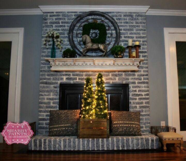 painted brick fireplace remodel