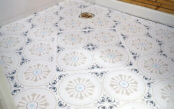 How to DIY:  Stencil Paint a Ceramic Tile Floor the Cheap and Easy Way