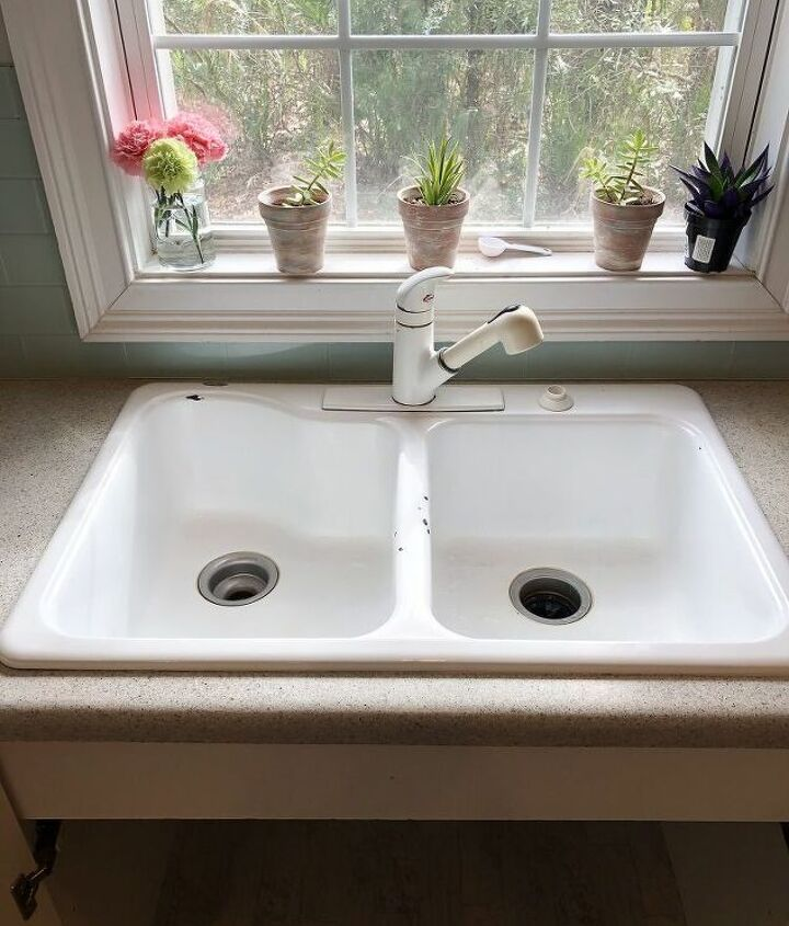 Kitchen sink before.