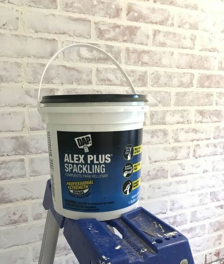 diy faux brick wall in laundry room