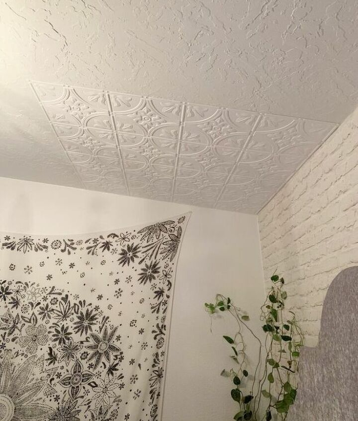 faux tin ceiling tile installation
