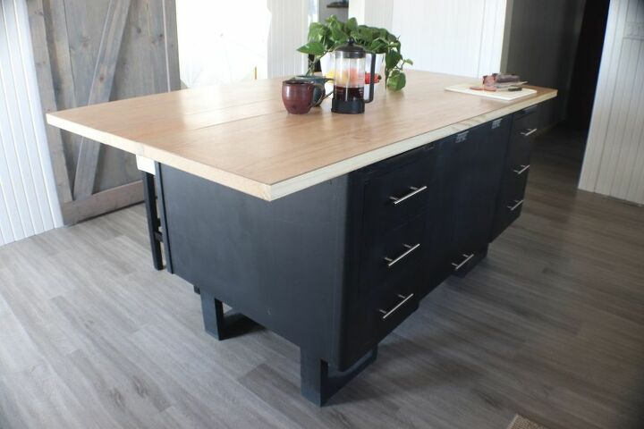desk to kitchen island transformation