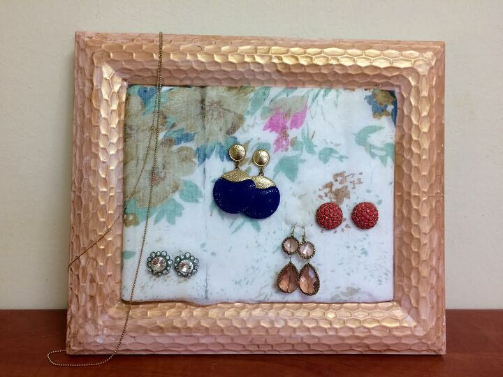 s use scrap fabric to update your furniture and your home, Create the earring holder of your dreams