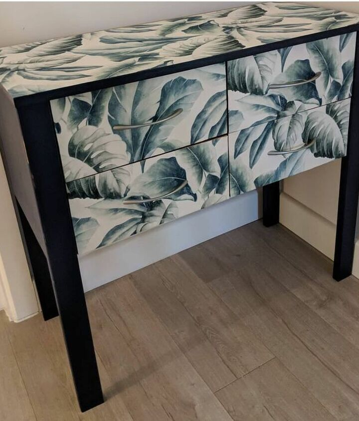 s use paper on your furniture for these great updates, Cover the entire piece for a chic look