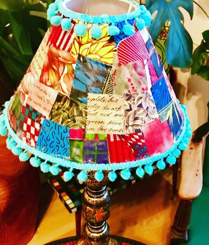 s use paper on your furniture for these great updates, Create a patchwork pattern on your lampshade