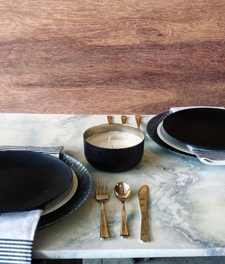 s 14 incredibly cozy ideas for your breakfast nook, Create a faux marble finish for your table