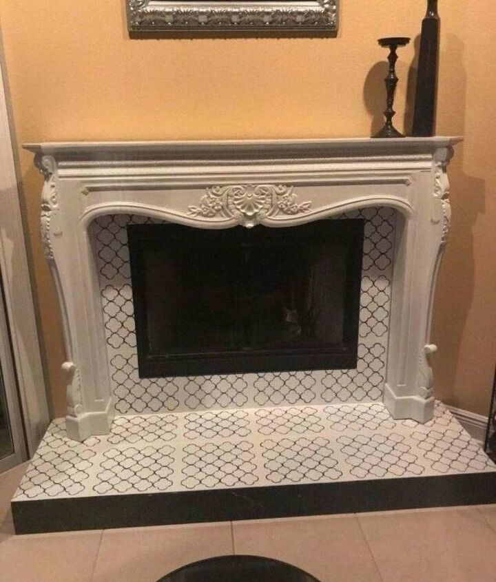 s faux finishes that ll take your fireplace to the next level, Stencils mimic an elegant tile look