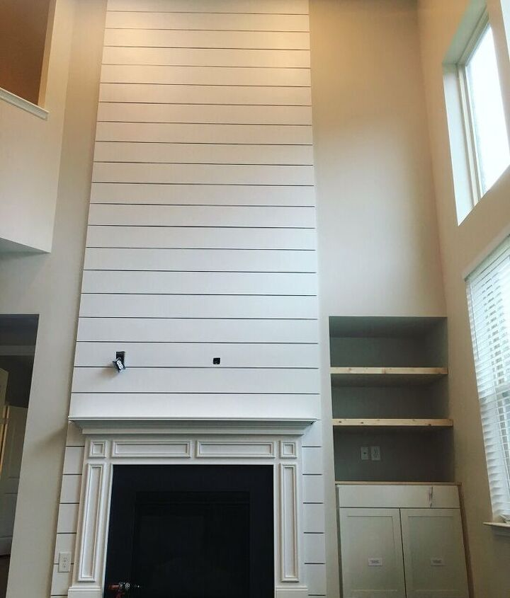 s faux finishes that ll take your fireplace to the next level, White shiplap hints to honed marble