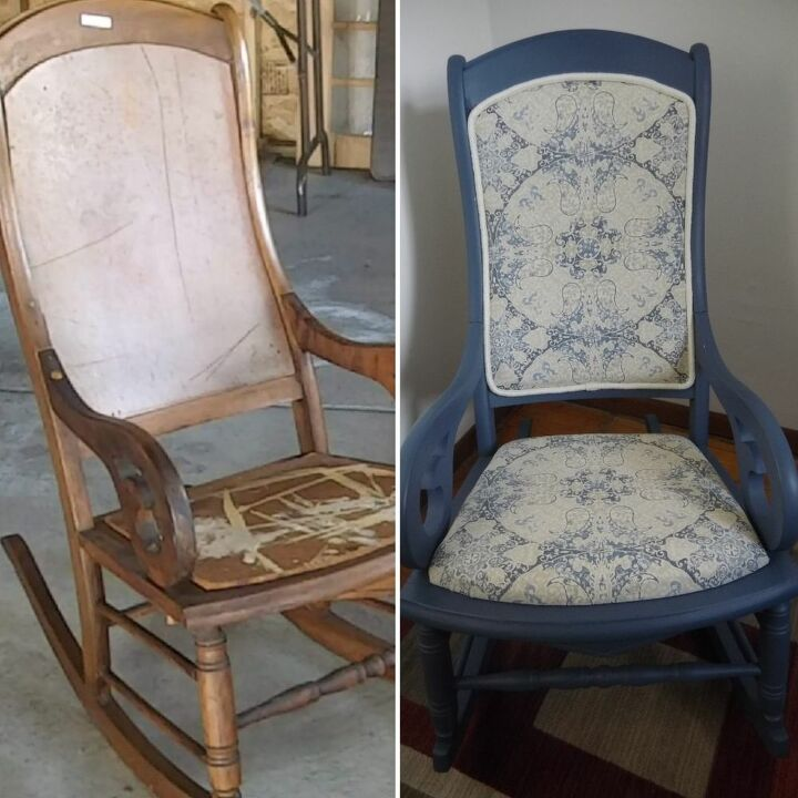 rocking chair makeover chalked paint and upholstery