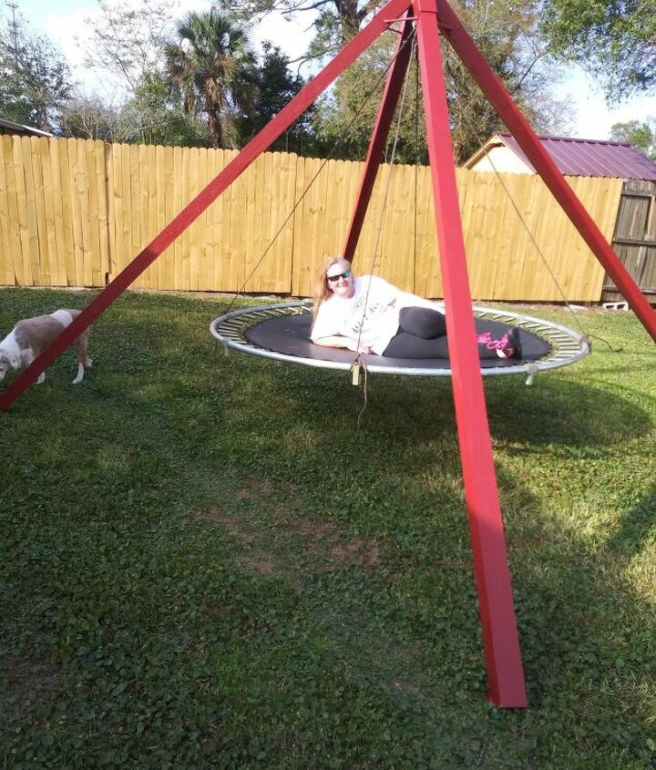 s 18 projects to prepare your outdoor space for summer, Turn an old trampoline into a swing
