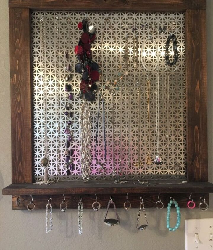 s diy decor using dollar items that you can make this weekend, A metal grate makes a hanging jewelry holder