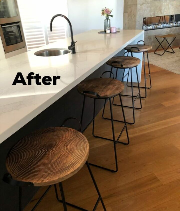 s diy decor using dollar items that you can make this weekend, Wooden trays give your barstools a new life