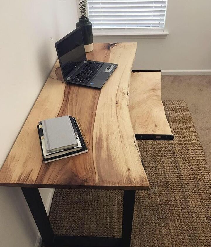 s 12 desks that will keep you organized, A live edge desk with rolling keyboard shelf
