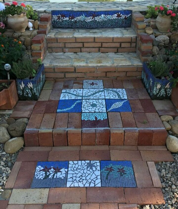 s creative ways to give your entrance a fresh look, Use broken tiles to create a mosaic path