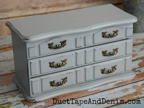 pink and blue thrift store jewelry box makeover