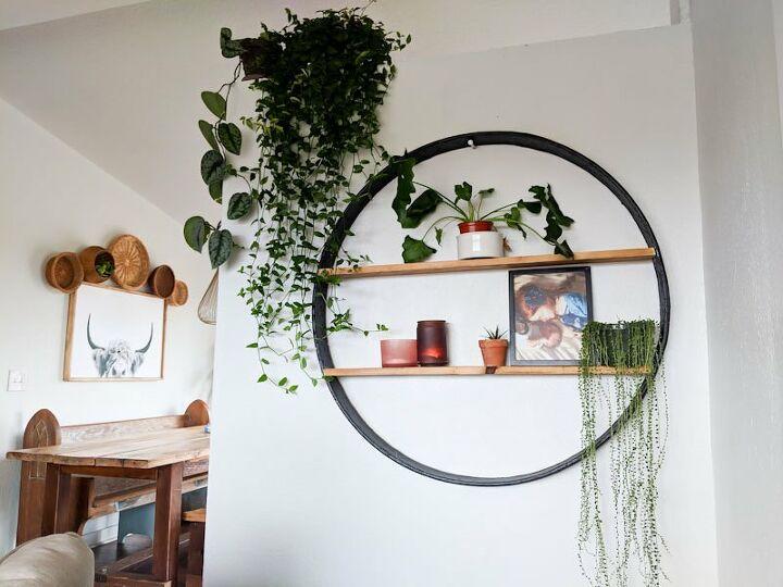 diy circle shelf from salvaged wagon wheel