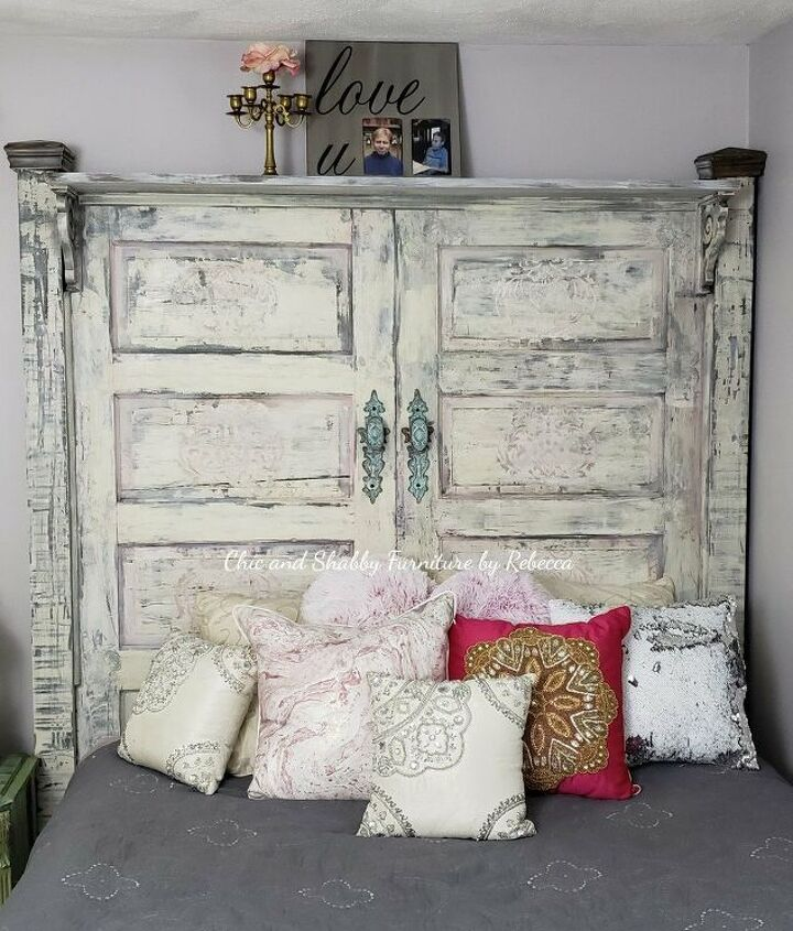 s is the farmhouse trend over 15 projects that will make you say no, This romantic chippy headboard