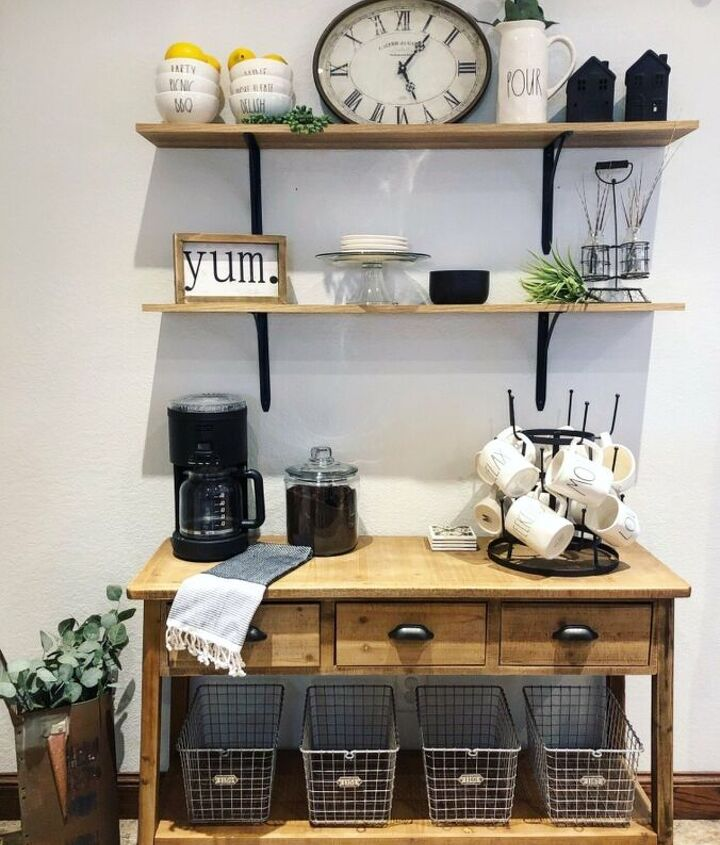 s is the farmhouse trend over 15 projects that will make you say no, This dreamy coffee bar
