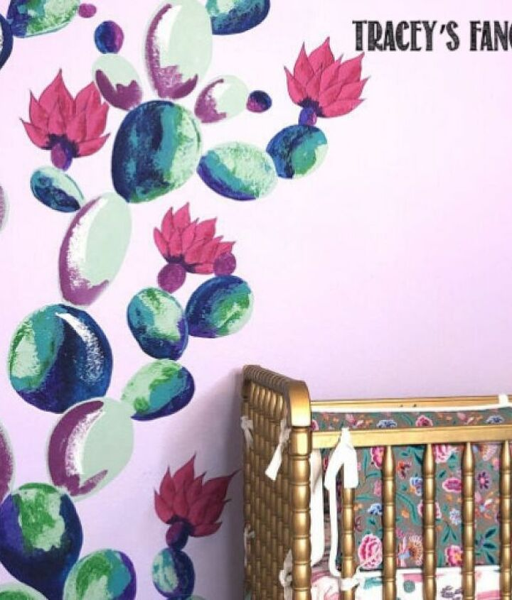 bold boho cactus wall mural