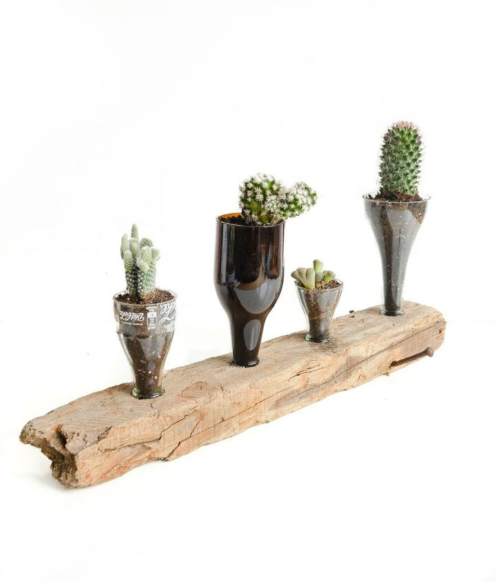 creative things to do with glass bottles upcycled cacti planter