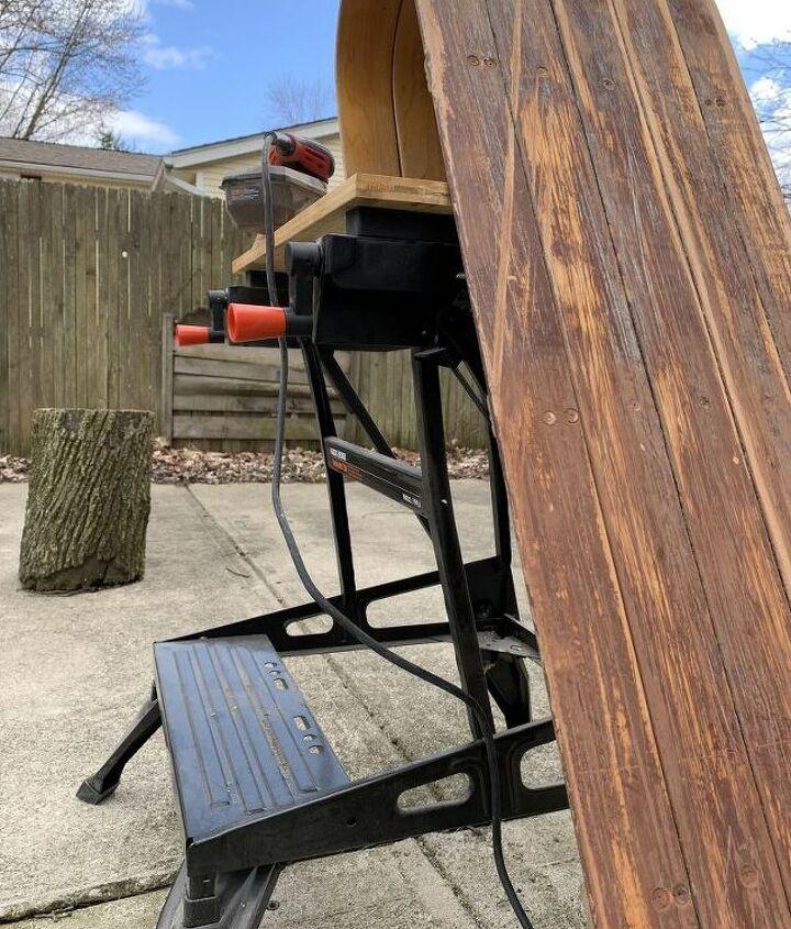 transform a vintage toboggan into a bench