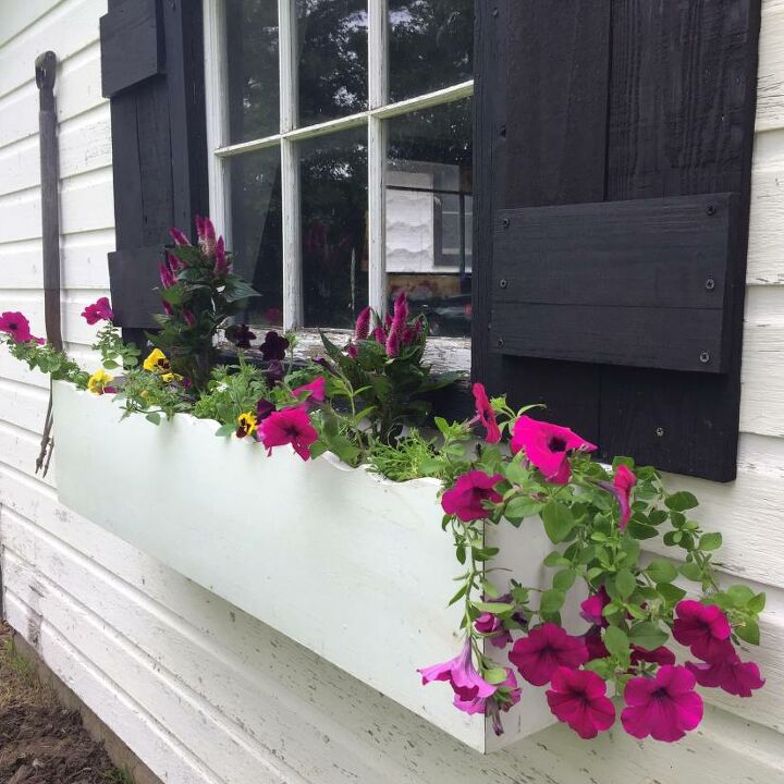 milk house window shutters and planter from scrap wood