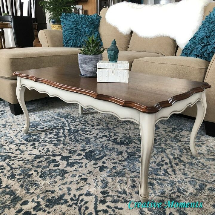 warm white stained top coffee table