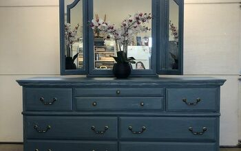 Seaside Blue Dresser and Mirror Makeover