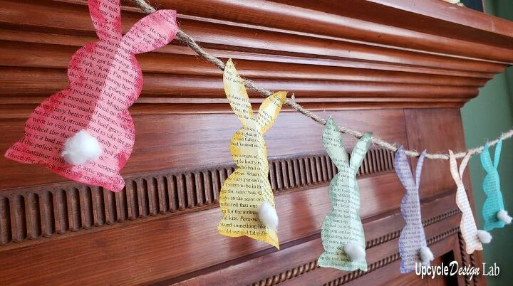 bunny garland and paper mache eggs upcycled easter diy