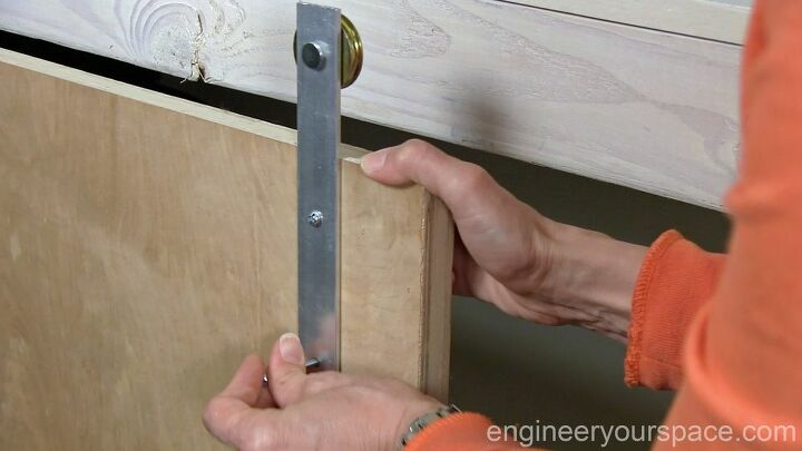 diy barndoor hardware for a shelving unit