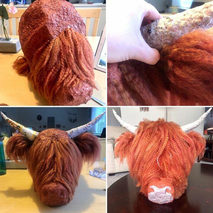 papier m ch highland cow mount