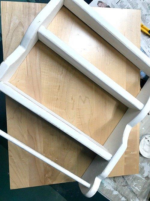 repurposed cabinet door craft shelf
