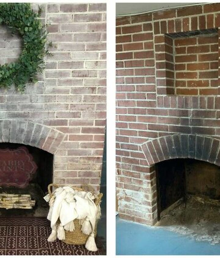 the easy way to whitewash a brick fireplace in under an hour