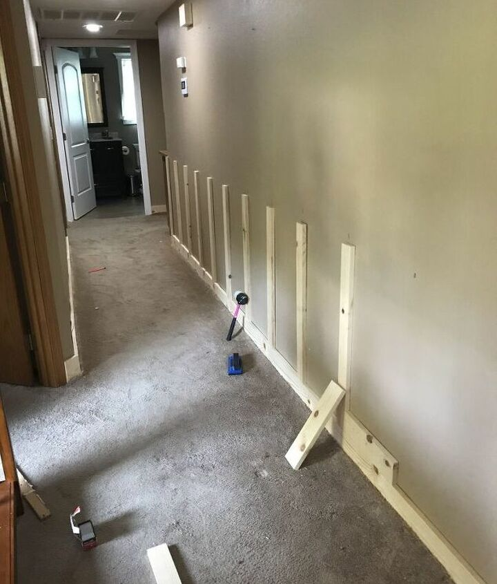 diy board and batten wall entryway and hallway update