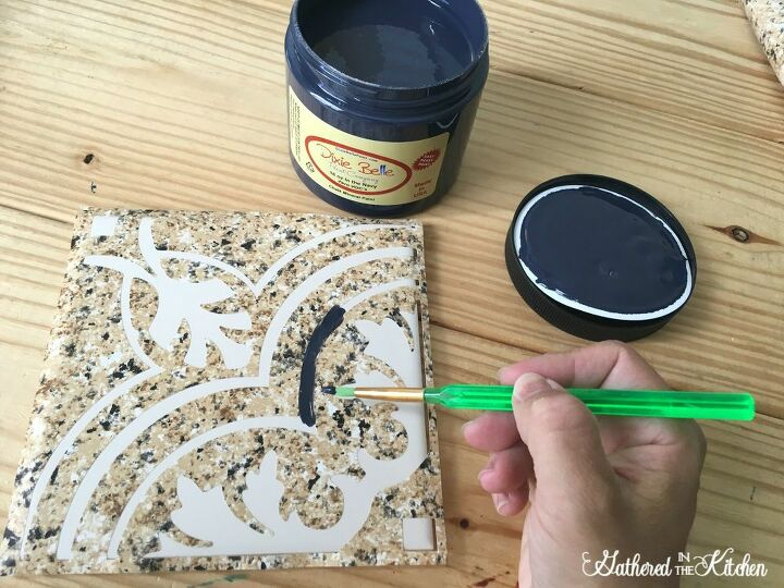 diy stencil tray before after