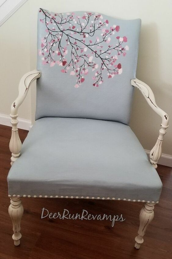how to update an old fabric chair using chalk paint