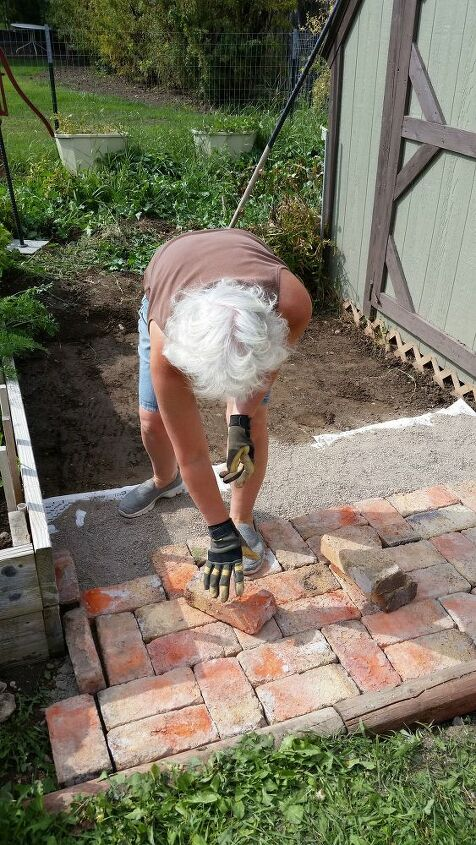 adding brick pavers to the garden area