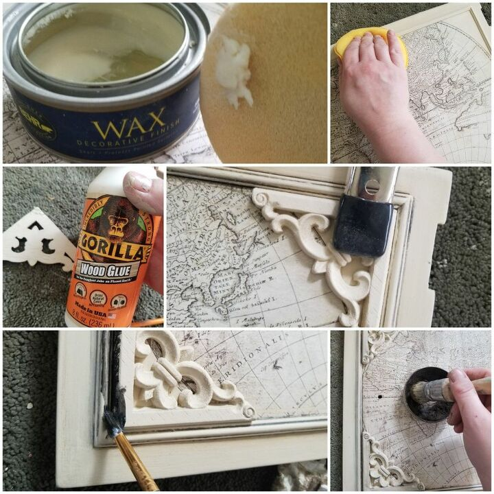 layer glaze and wax give wood burnt edges and apply a prima transfer