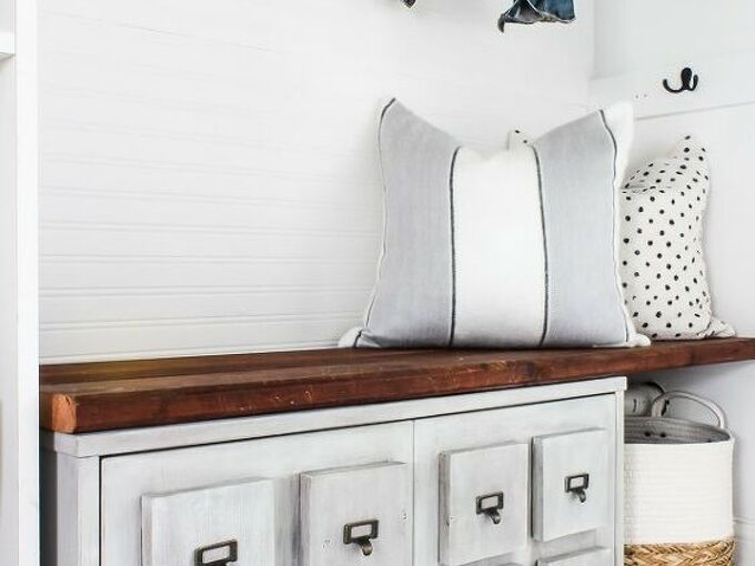 diy storage bench using an old cabinet