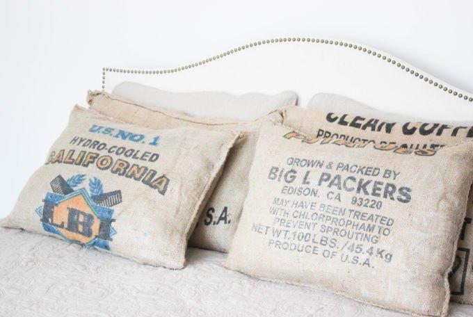 how to make coffee sack pillows