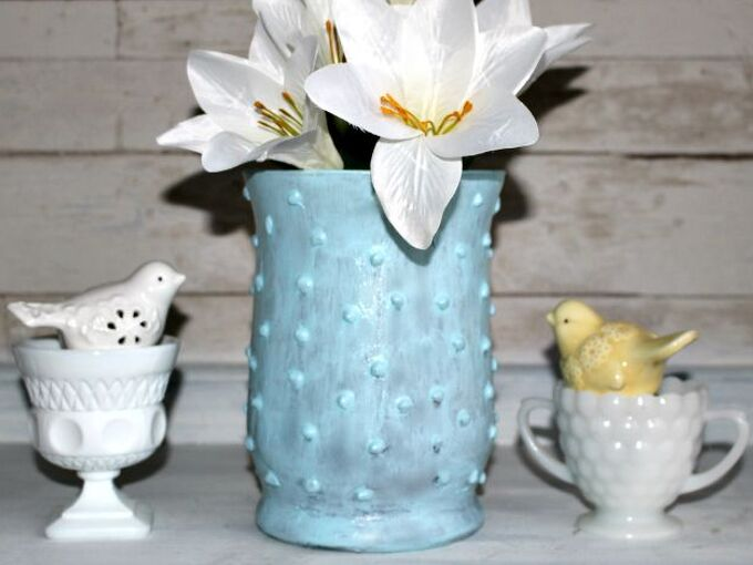 easy to make beautiful faux hobnail milk glass