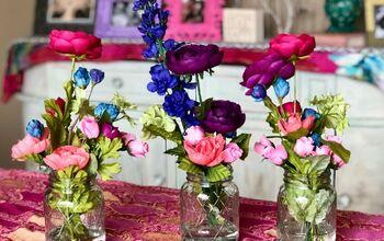 Mason Jar Faux Flower Arrangement