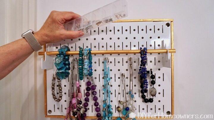 diy pegboard jewelry storage holder